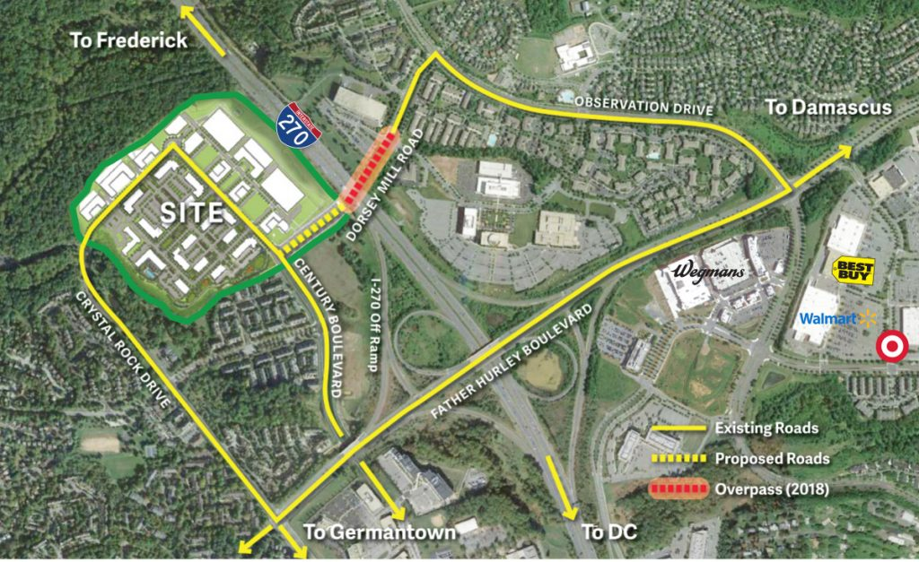Map of Black Hill in Germantown, Maryland showing I-270, Father Hurley Boulevard, and the Dorsey Mill Road overpass